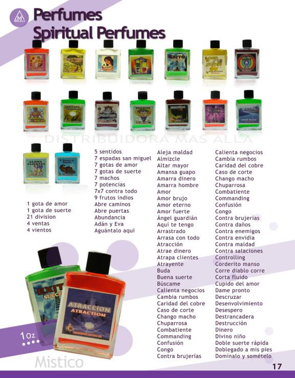 perfumes distribuidos para botanicas y yerberias
